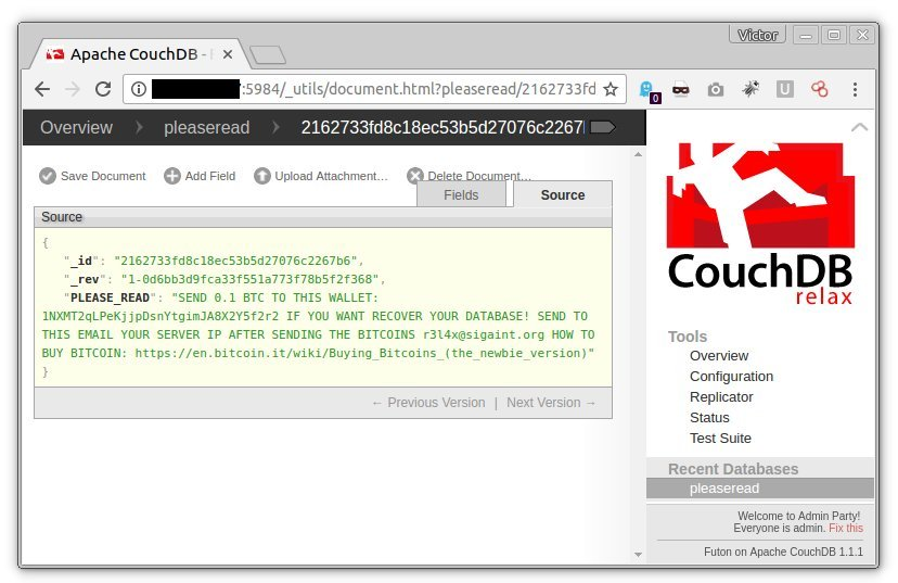 Ransomed CouchDB database