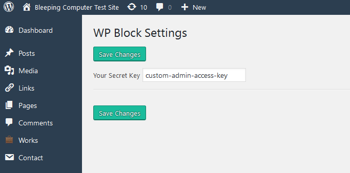 WP Admin Block settings page