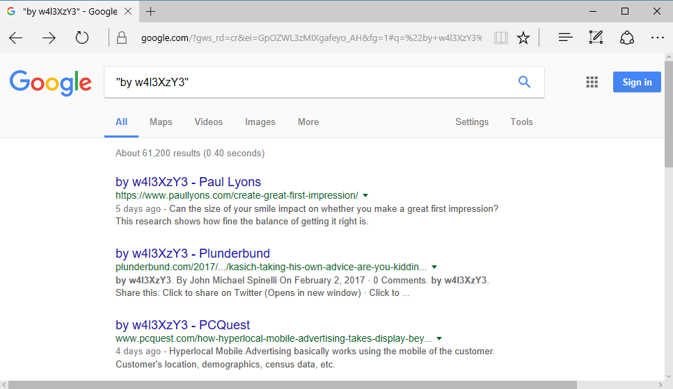 Defaced websites indexed by Google
