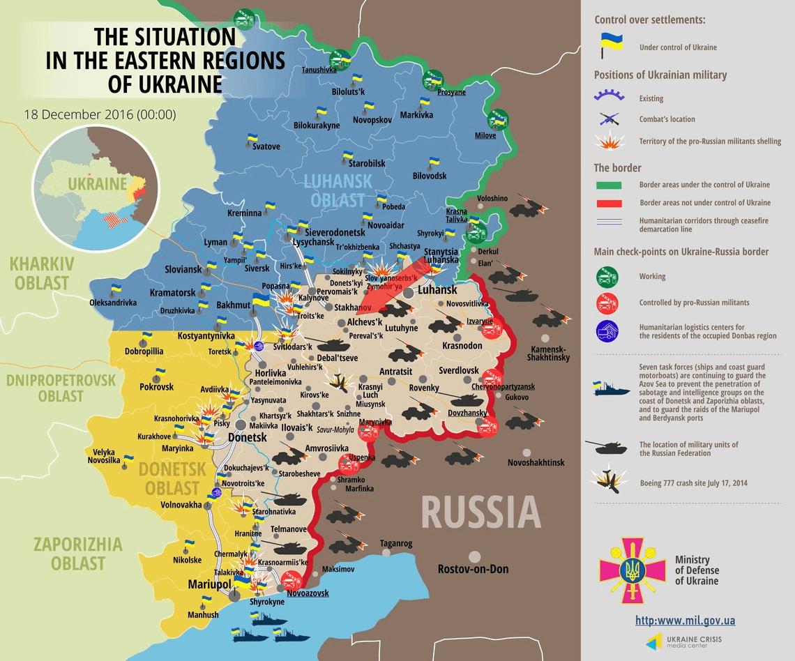 Ukraine conflict map [December 18, 2016]