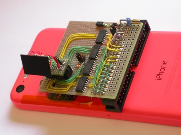 iPhone 5c with intermediate board for eavesdropping