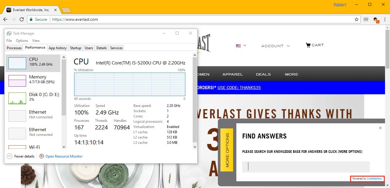 Coinhive via LiveHelpNow widget on Everlast website