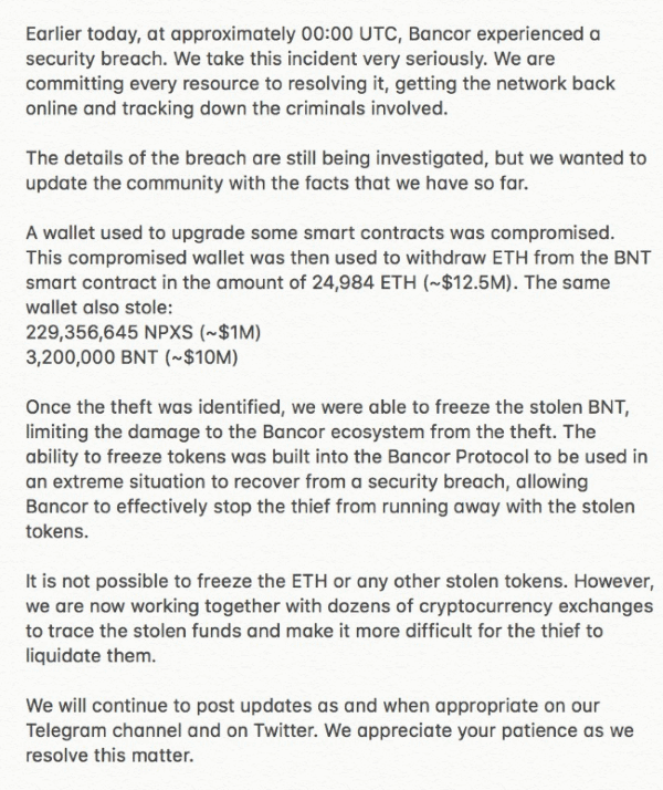 Bancor hack statement