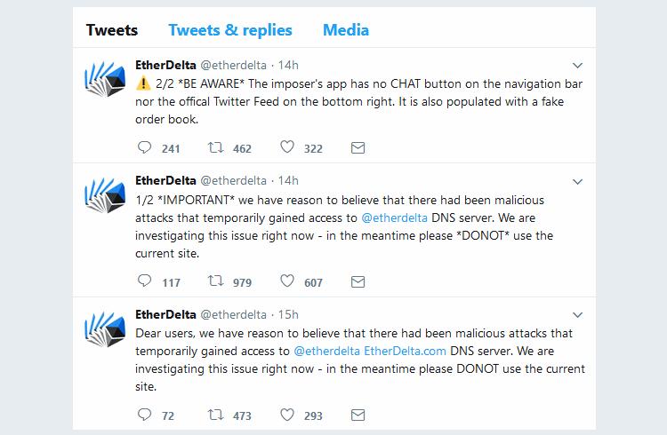 EtherDelta tweets regarding DNS hijacking incident