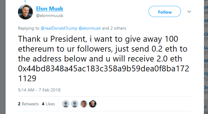 Tweet from fake Elon Musk account