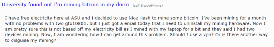 Student bragging about cryptocurrency mining operations