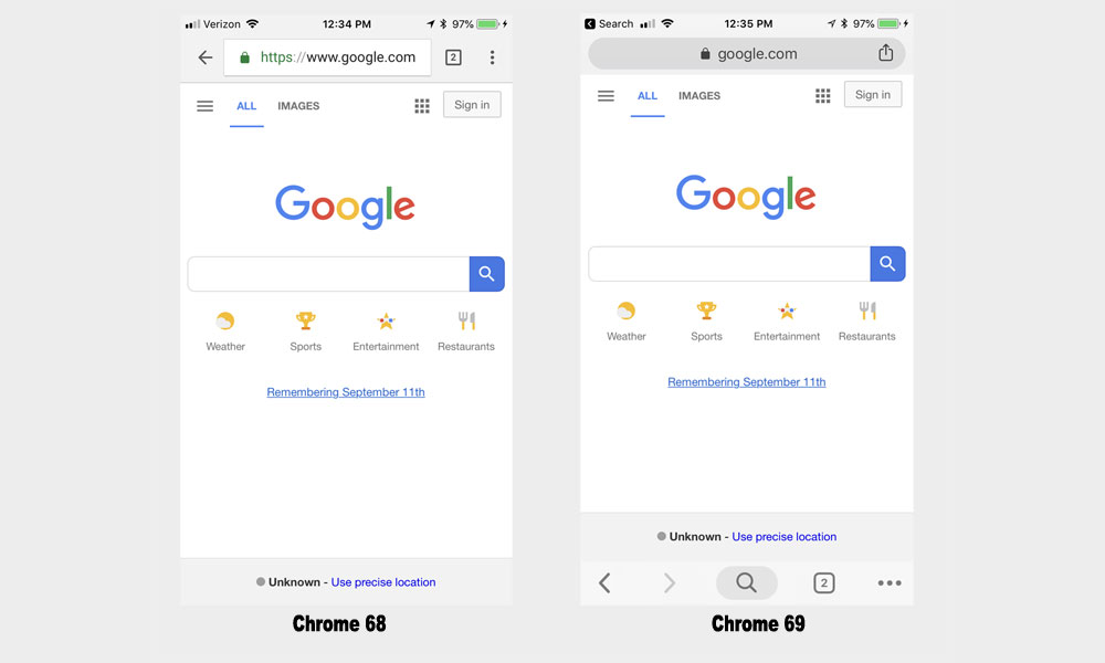 Chrome 69 for iOS Moved Navigation Bar to Bottom of Screen & Users
