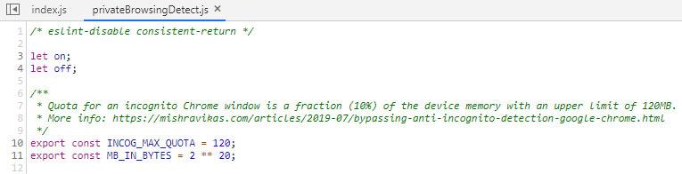 Script usado para detectar o modo de navegação anônima
