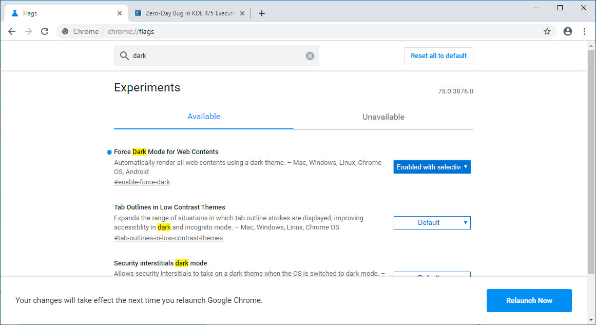 Relaunch Chrome after enabling Force Dark Mode for Web Contents