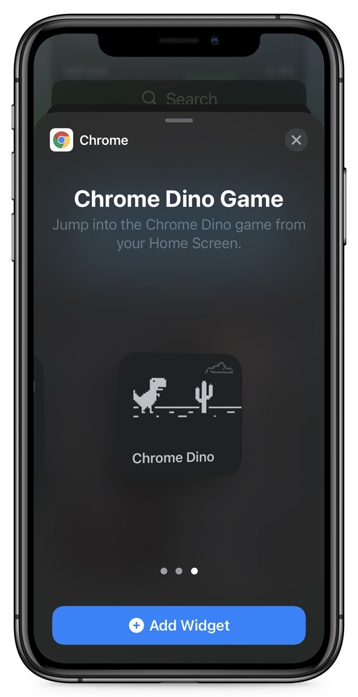 Adding the Dinosaur Game widget