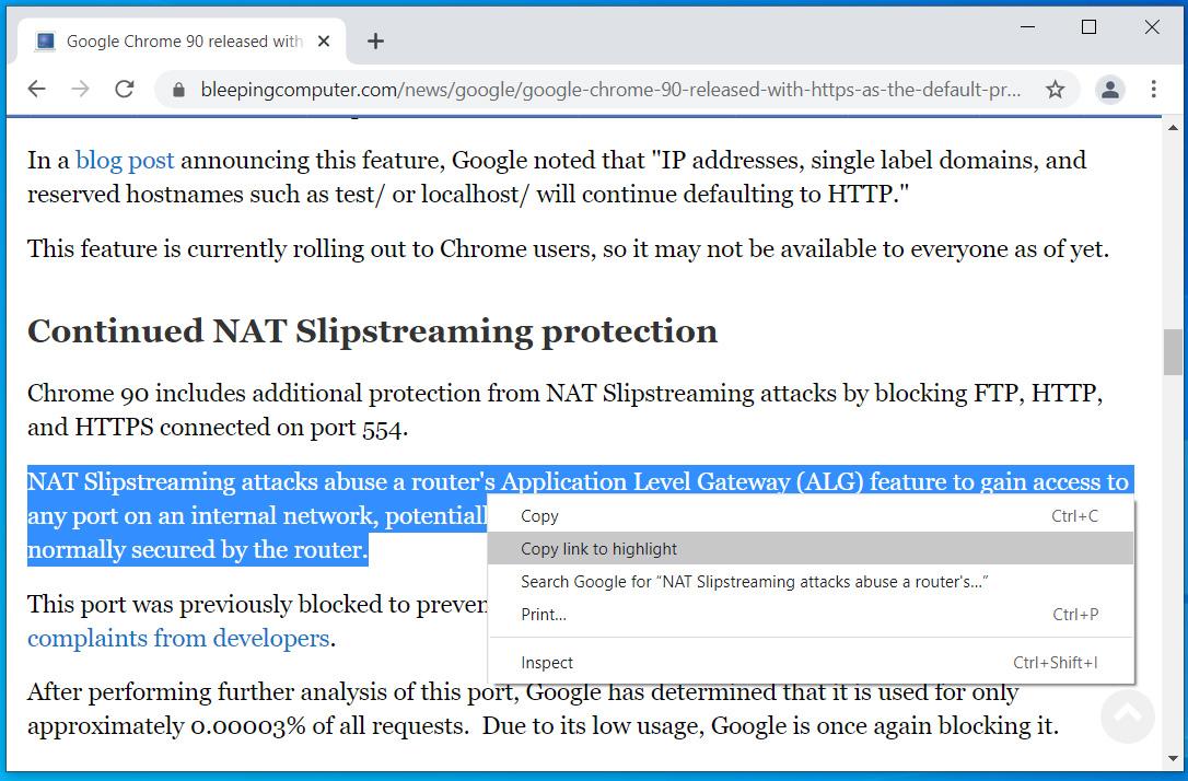 Google Chrome copy link to highlight option