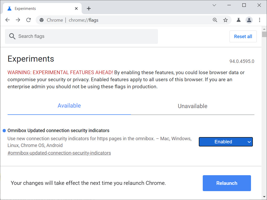 Omnibox Updated connection security indicators Chrome flag