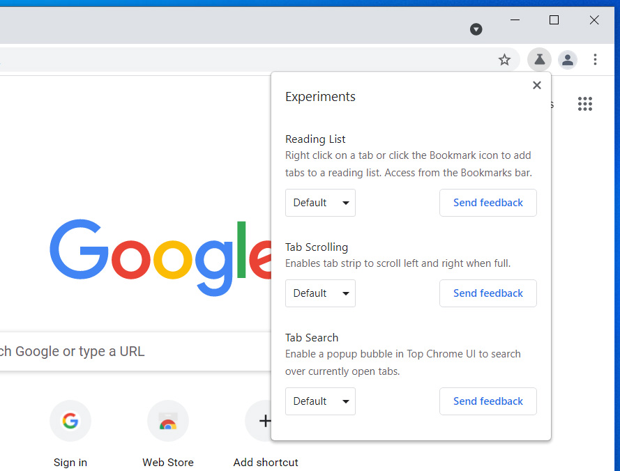 New Google Chrome Labs feature