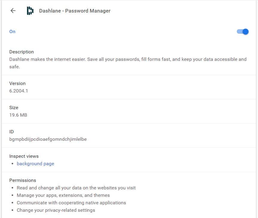 Dashlane extension permissions