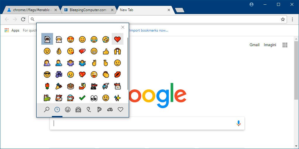 Chrome Emoji Panel