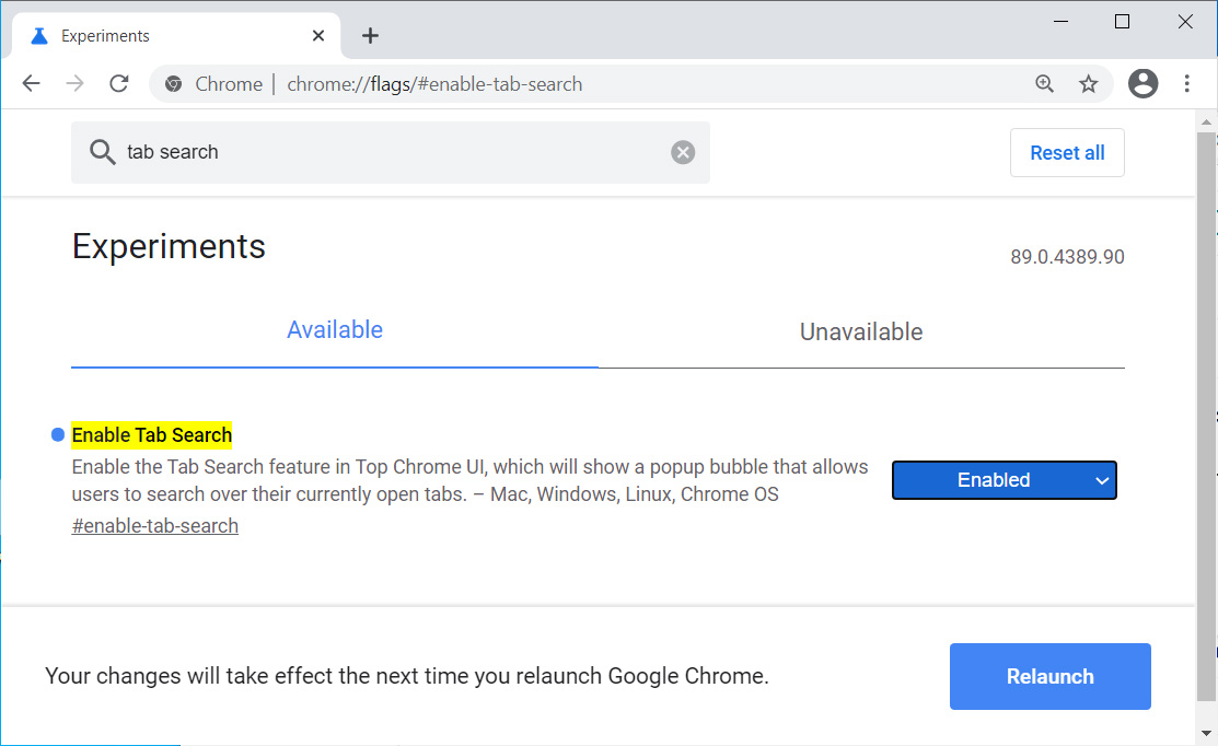 Enable Tab Search in Google Chrome