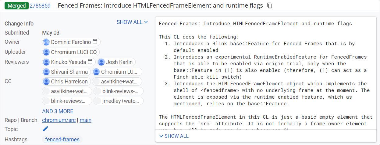 Adding Fenced Frames to Google Chrome