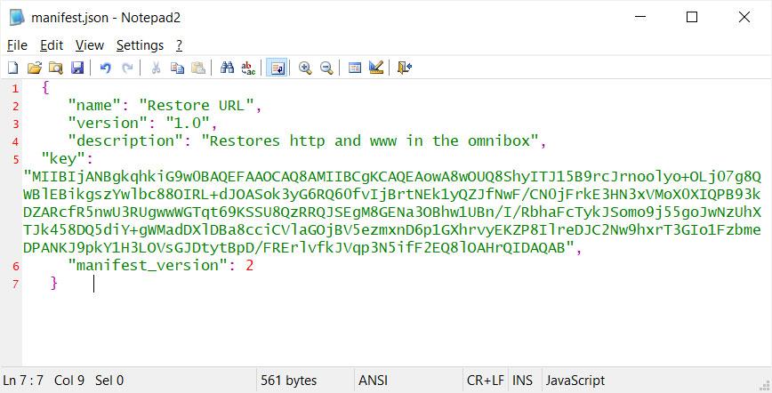 Manifest.json file
