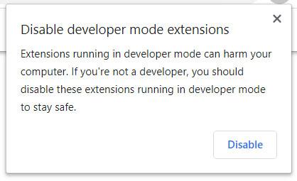 Developer mode extensions alert