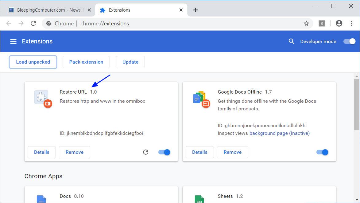 Restore URL extension loaded