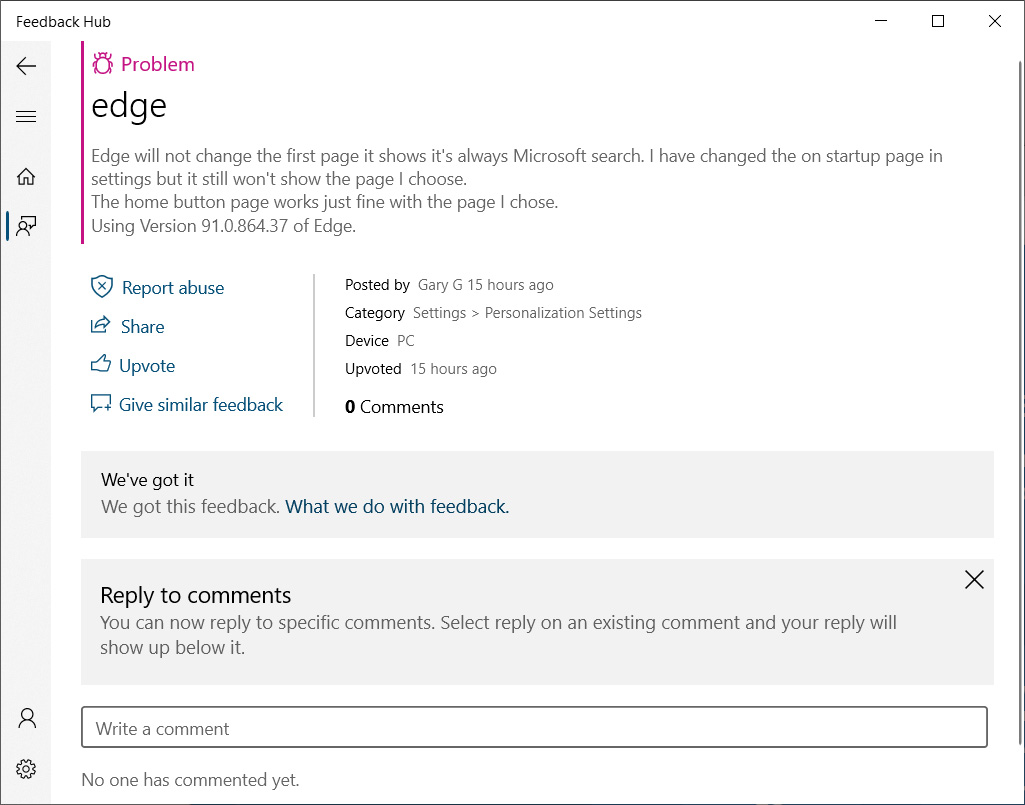 Feedback Hub report about ignored startup page