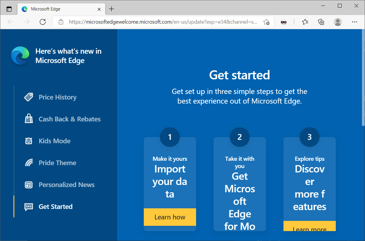 New features in Microsoft Edge 91