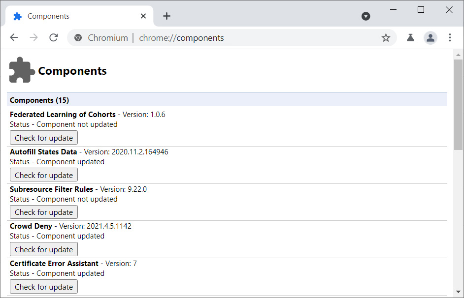 Chromium 90 build with Federated Learning of Cohorts component