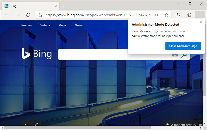 Edge running in Administrator Mode