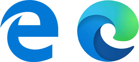 Old and new Microsoft Edge icons