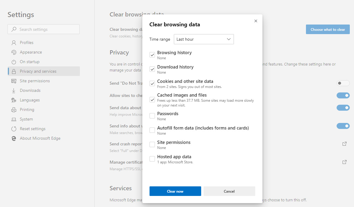 Easier method to clear browsing data