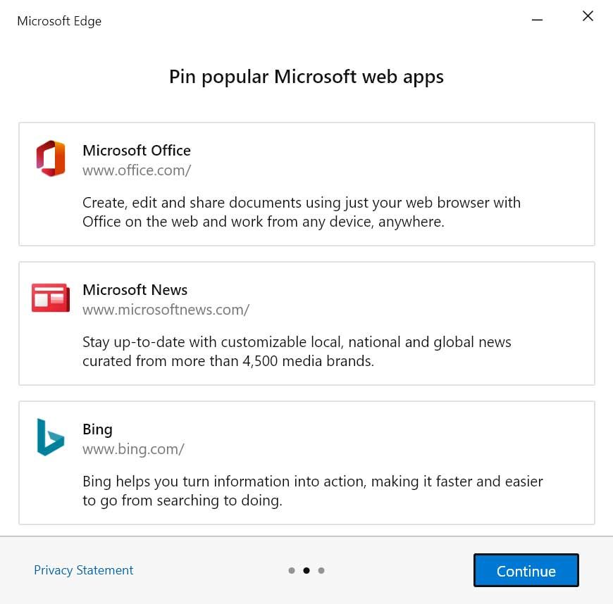 Choose Microsoft apps to pin