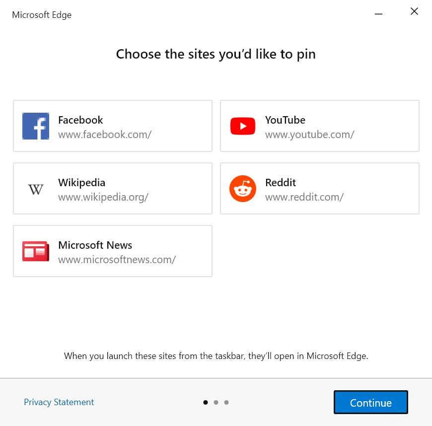 Choose sites to pin