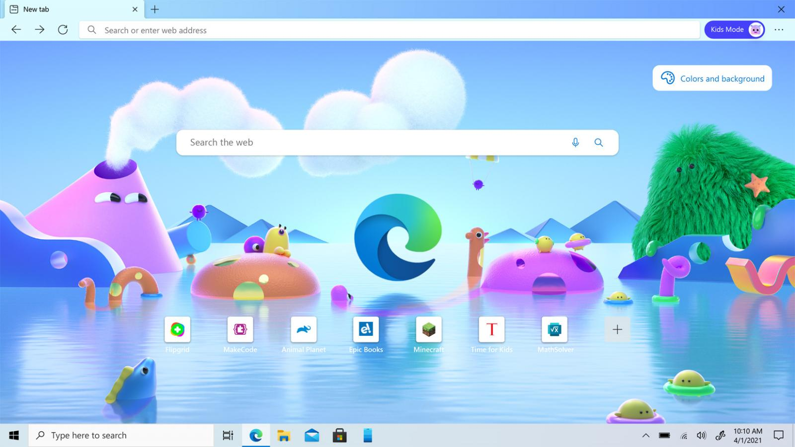 Microsoft Edge Kids Mode for ages 5-8