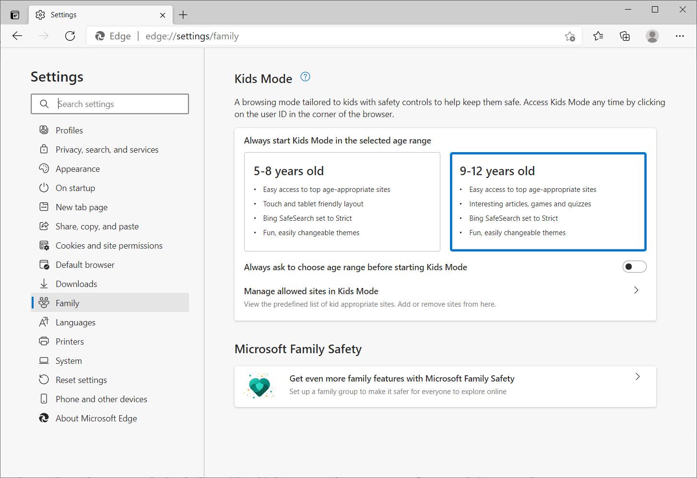 Microsoft Edge Kids Mode settings