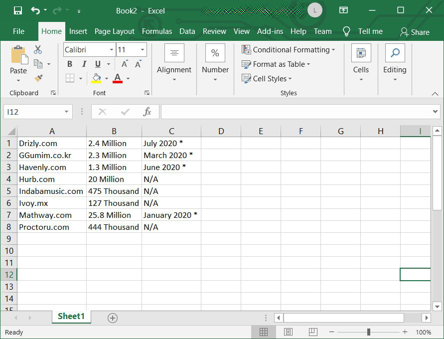 Tabular data pasted into Excel