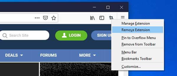 Remove Extension context menu option