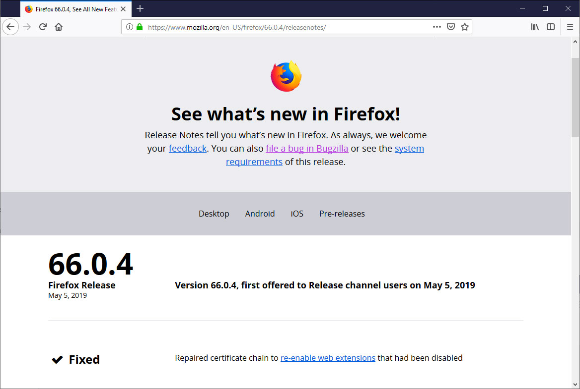 Firefox 66 0 4 Released With Fix for Disabled Addons