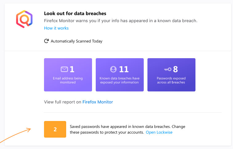 Firefox Monitor stats in Firefox Protection Report