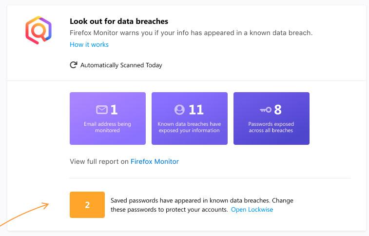 Estatísticas do Monitor do Firefox no Relatório de Proteção do Firefox