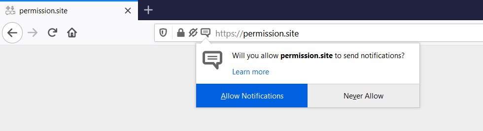 Example browser notification prompt