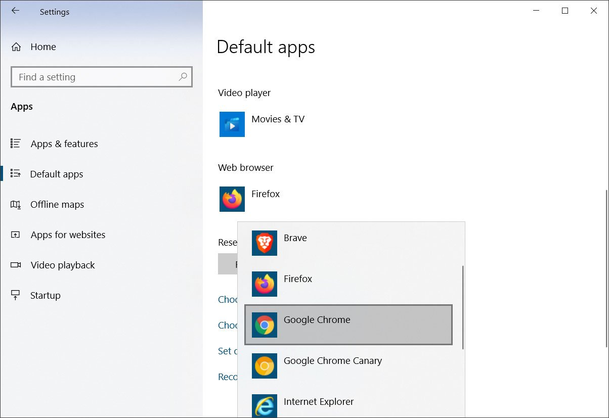 Windows 10 default apps settings screen