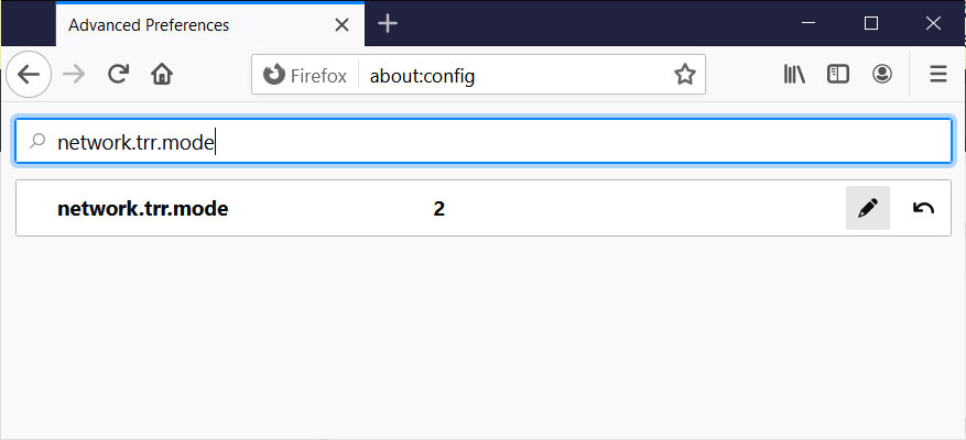 Firefox network.trr.mode setting