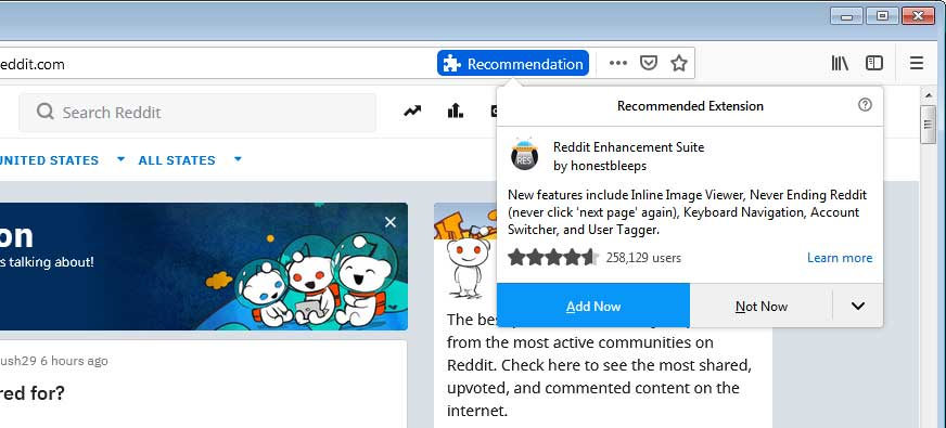 Mozilla Firefox Adding Setting to Disable Recommended Extensions