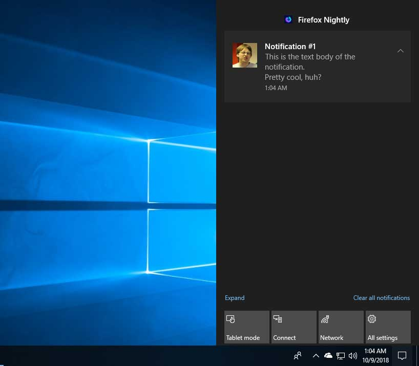 Firefox Will Show Browser Notifications in the Windows 10 Action Center