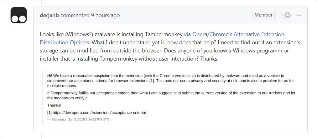 Opera Blacklists Tampermonkey Extension Being Installed by Malware