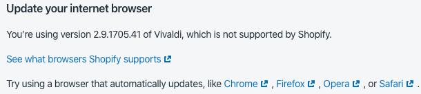 Vivaldi blocked at a site