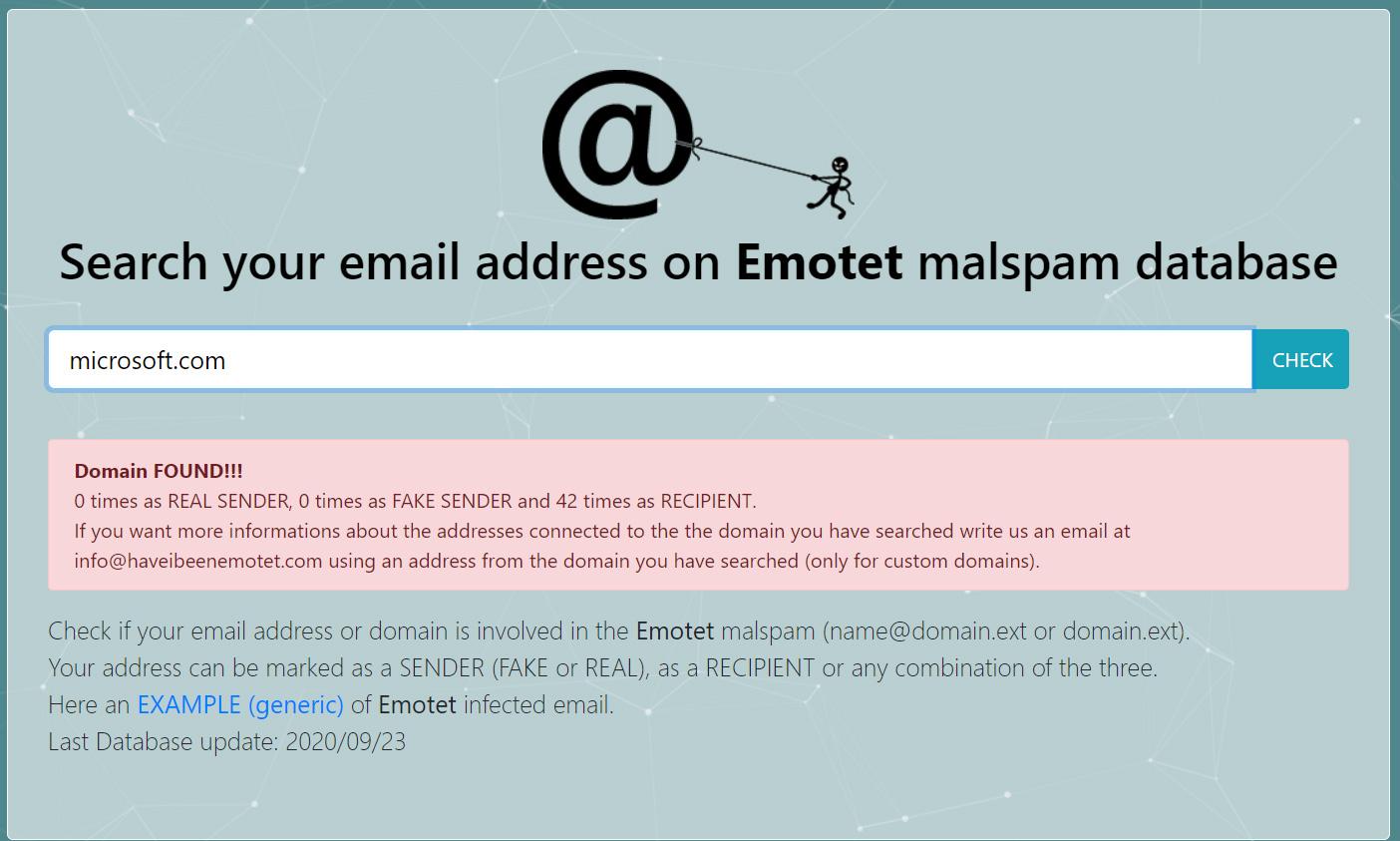 Emotet emails targeting microsoft.com