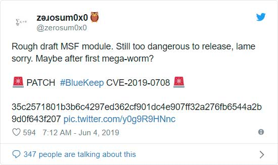 MetaSploit Module Created for BlueKeep Flaw, Private for Now