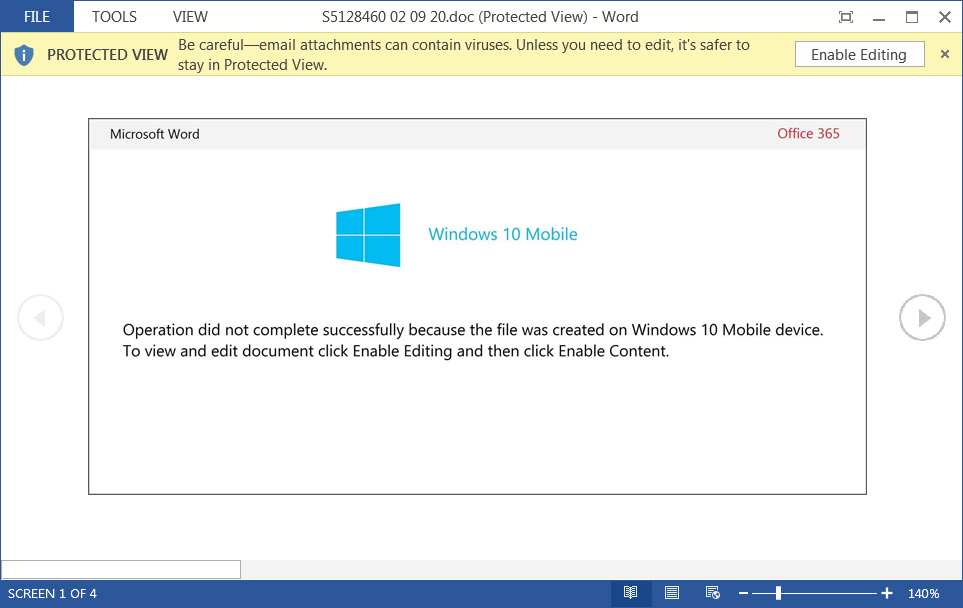 Malicious 'Windows 10 Mobile' Word document